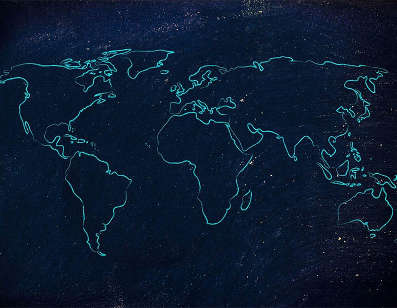 An illustrated map of the world.