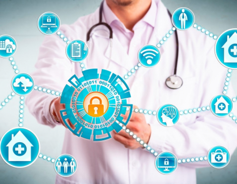 Healthcare cybersecurity professional sharing data